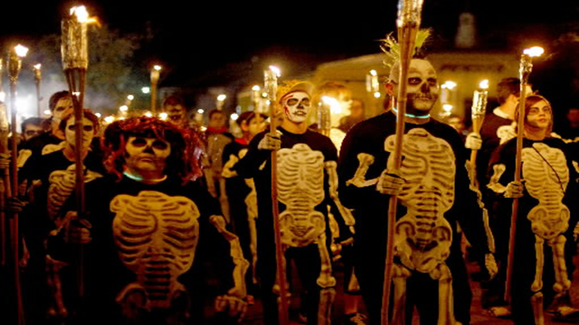 Halloween Fun Fact: Dressing up as ghouls and other spooks originated from the ancient Celtic tradition of townspeople disguising themselves as demons and spirits. The Celts believed that disguising themselves this way would allow them to escape the notice of the real spirits wandering the streets during Samhain.