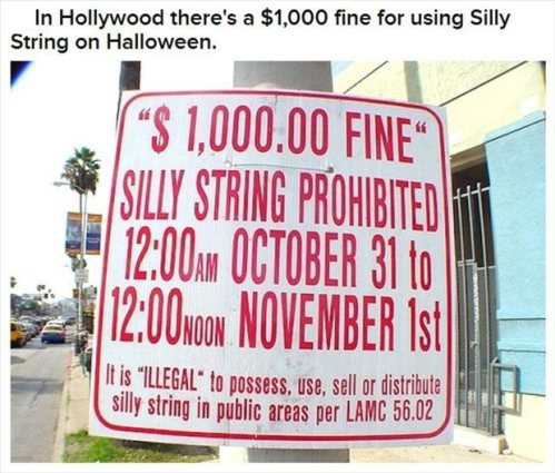 Halloween Fun Facts:  In Hollywood there's a $1000 fine for using silly string on Halloween.
