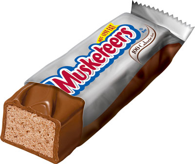 Halloween Fun Fact: When the treat was introduced in the 1930s, a 3 Musketeers consisted of separate chocolate, vanilla, and strawberry pieces, hence the name.